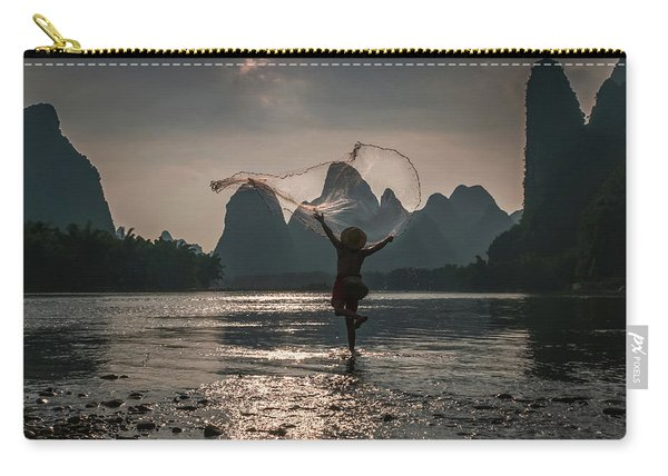 Fisherman Casting A Net. Carry-all Pouch