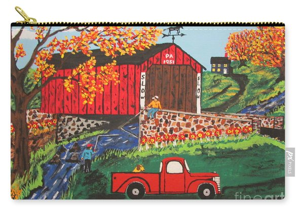 Fishing Under The  Covered Bridge Carry-all Pouch