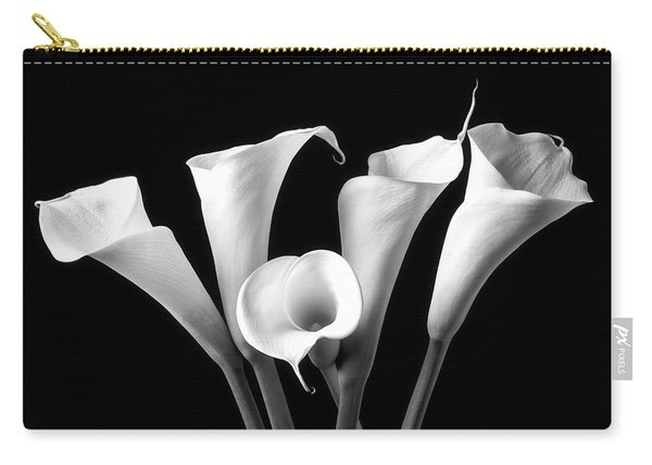 Five Black And White Calla Lilies Carry-all Pouch