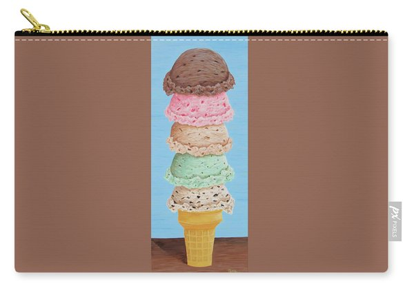 Carry-all Pouch featuring the painting Five Scoop Ice Cream Cone by Nancy Nale