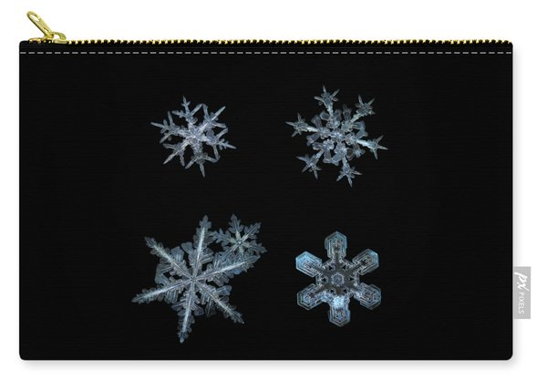 Carry-all Pouch featuring the photograph Five Snowflakes On Black 3 by Alexey Kljatov