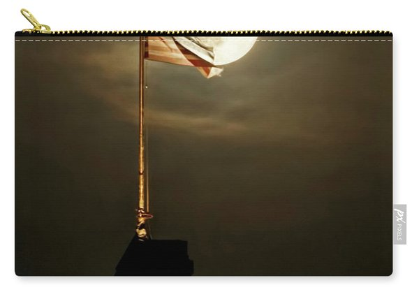 Carry-all Pouch featuring the photograph Flag And Moon -01 by Rob Graham