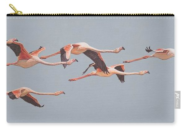 Carry-all Pouch featuring the painting Flamingos In Flight by Alan M Hunt