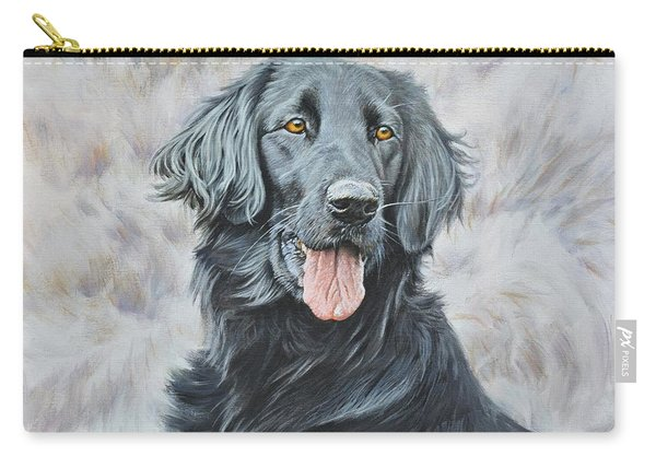 Carry-all Pouch featuring the painting Flat Coated Retriever Portrait by Alan M Hunt