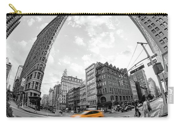 Flatiron Building With Iconic Yellow Taxi Carry-all Pouch