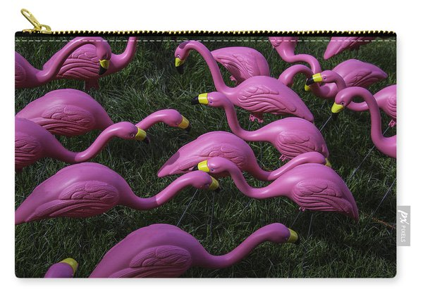 Flock Of  Plastic Flamingos Carry-all Pouch