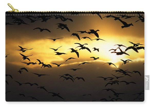 Flock Of Silhouetted Snow Geese Carry-all Pouch