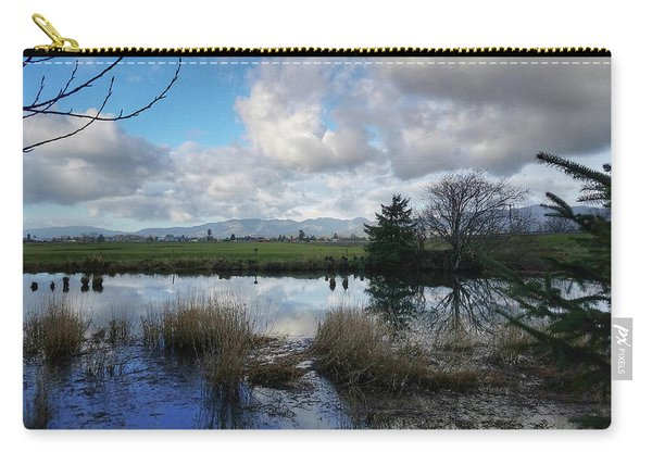 Flooding River, Field And Clouds Carry-all Pouch