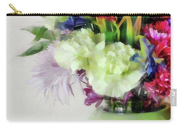 Floral Bouquet In Green Carry-all Pouch