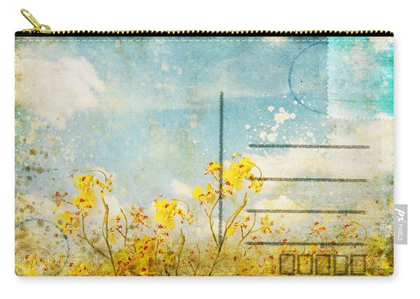 Floral In Blue Sky Postcard Carry-all Pouch