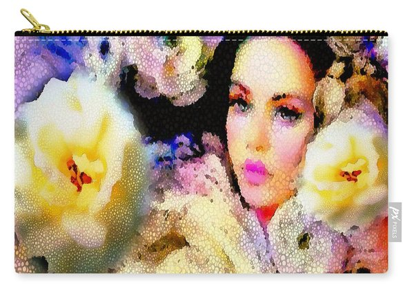 Floral Mosaic She In Thick Paint Carry-all Pouch
