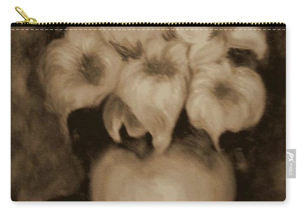 Floral Puffs In Brown Carry-all Pouch
