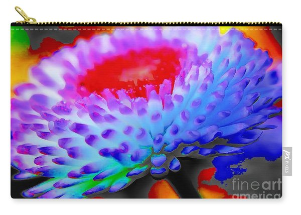 Floral Rainbow Splattered In Thick Paint Carry-all Pouch