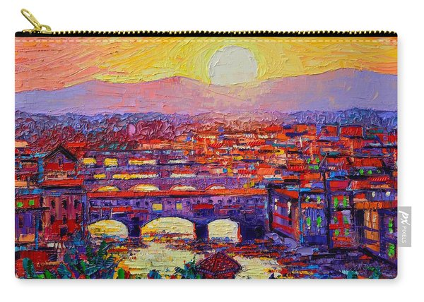 Florence Sunset Over Ponte Vecchio Abstract Impressionist Knife Oil Painting By Ana Maria Edulescu Carry-all Pouch