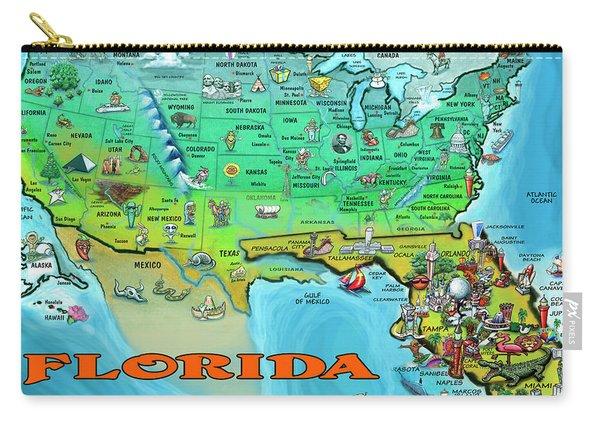 Florida Usa Cartoon Map Carry-all Pouch