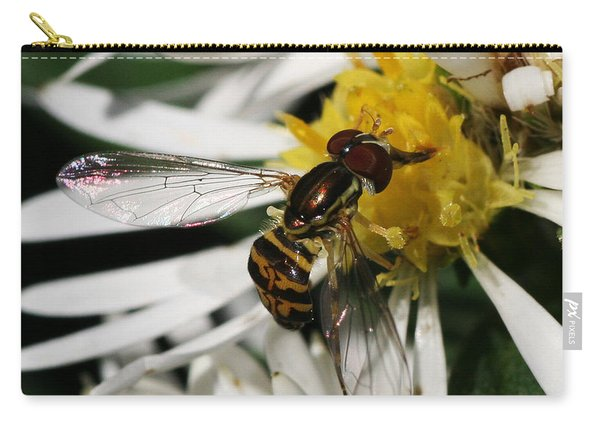 Carry-all Pouch featuring the photograph Flower Fly On Wildflower by William Selander
