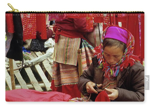 Flower Hmong Fabric Stall Carry-all Pouch