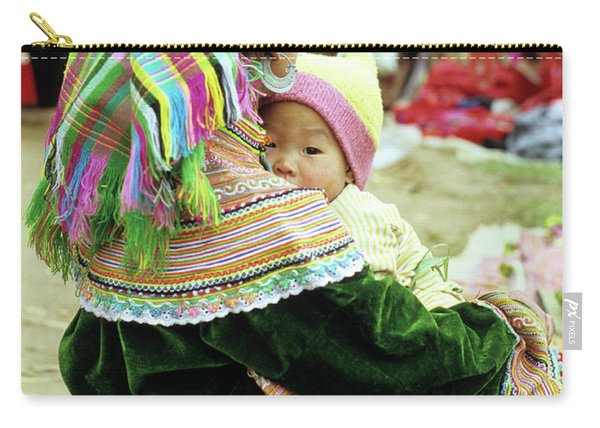 Flower Hmong Mother And Baby 02 Carry-all Pouch