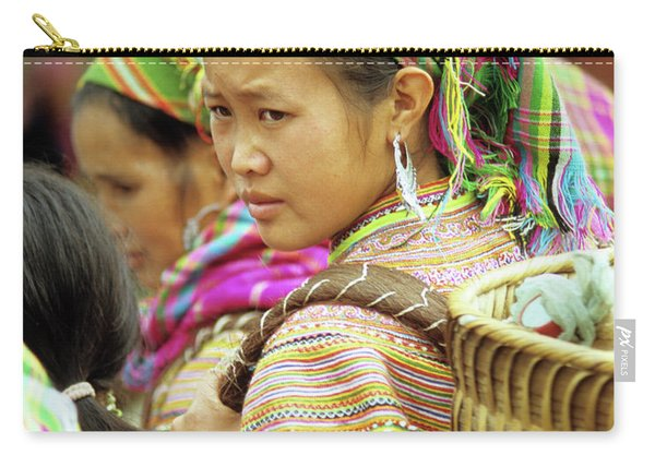 Flower Hmong Woman 08 Carry-all Pouch