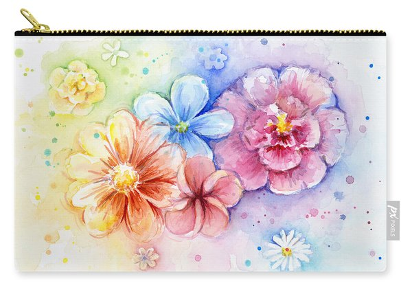 Flower Power Watercolor Carry-all Pouch