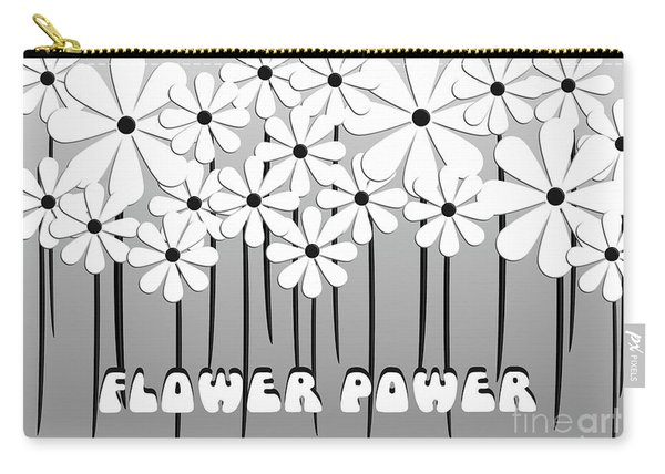 Flower Power - White  Carry-all Pouch