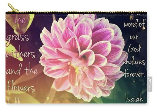 Flower With Scripture Carry-all Pouch
