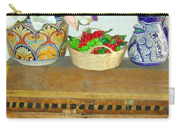 Carry-all Pouch featuring the photograph Flowers And Antique Chest by Joseph R Luciano