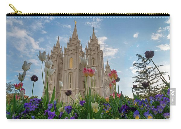 Carry-all Pouch featuring the photograph Flowers At Temple Square by Dustin  LeFevre