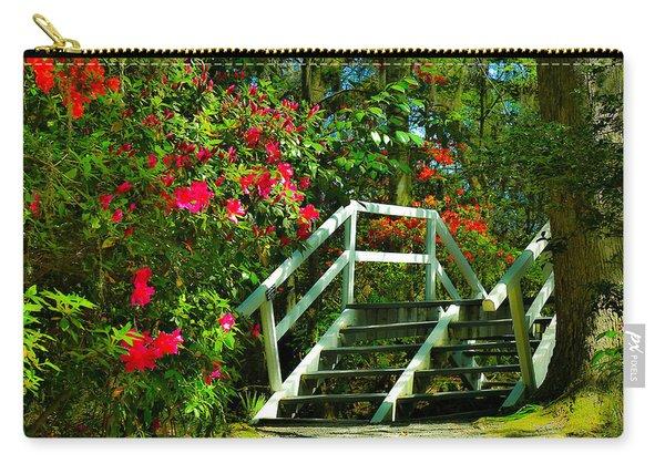 Flowers Bloom Alongside Magnolia Plantation Bridge - Charleston Sc Carry-all Pouch