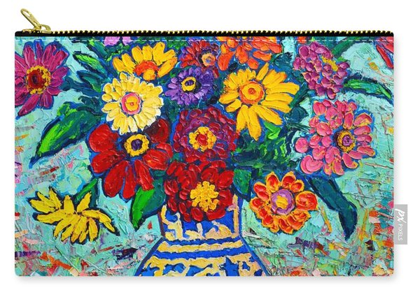 Flowers - Colorful Zinnias Bouquet Carry-all Pouch