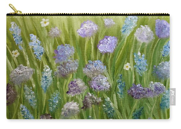 Carry-all Pouch featuring the painting Flowers Field by Angeles M Pomata