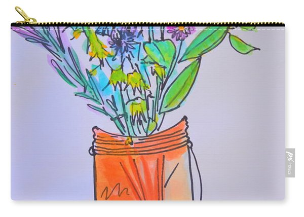 Flowers In An Orange Mason Jar Carry-all Pouch