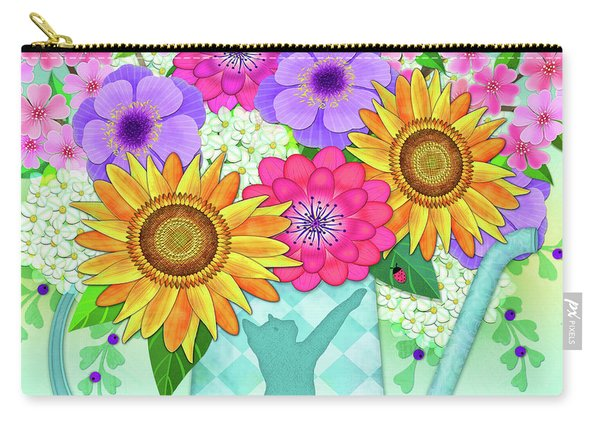Flowers In Watering Can Carry-all Pouch