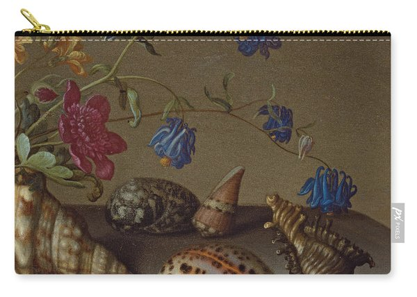 Flowers, Shells And Insects On A Stone Ledge Carry-all Pouch