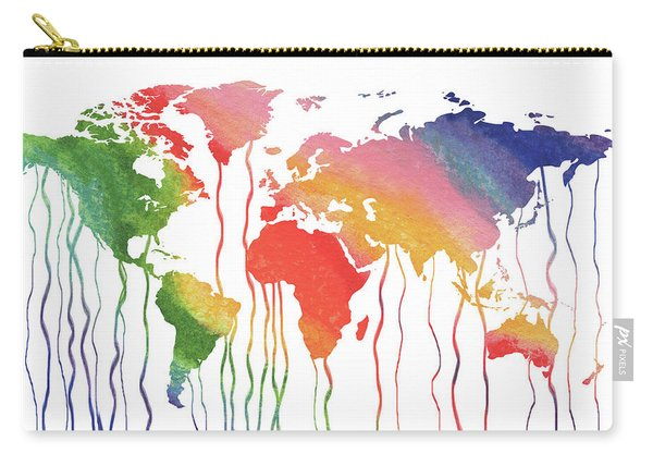 Fluid Rainbow Watercolor World Map Carry-all Pouch