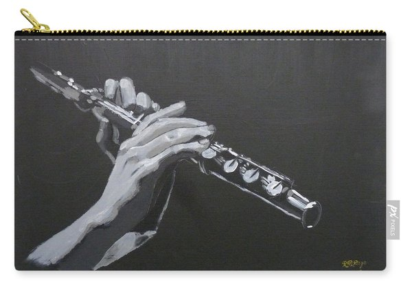 Carry-all Pouch featuring the painting Flute Hands by Richard Le Page