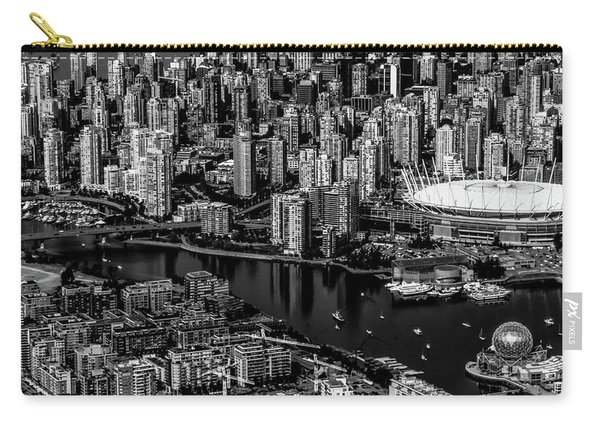 Carry-all Pouch featuring the photograph Fly Over Vancouver Bandw by Michael Hope
