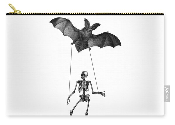 Flying Bat With Skeleton On A String Carry-all Pouch