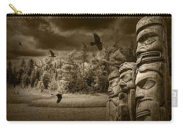 Flying Ravens And Totem Poles In Sepia Tone Carry-all Pouch