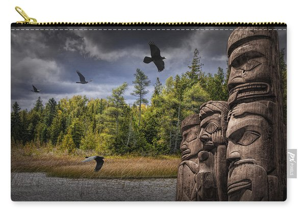 Flying Ravens And Totem Poles In The Wilderness Carry-all Pouch