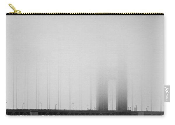 Fog At The Golden Gate Bridge 4 - Black And White Carry-all Pouch