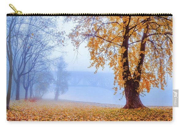 Carry-all Pouch featuring the photograph Foggy Autumn Morning On Vistula by Dmytro Korol