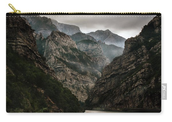 Carry-all Pouch featuring the photograph Foggy Mountains Over Neretva Gorge by Jaroslaw Blaminsky