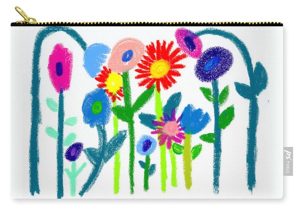 Carry-all Pouch featuring the pastel Folk Garden by Bee-Bee Deigner