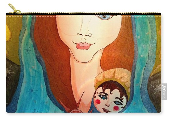 Folk Mother And Child Carry-all Pouch