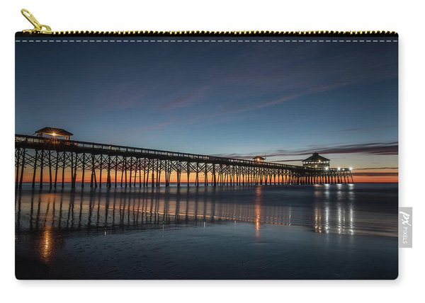 Carry-all Pouch featuring the photograph Folly Beach Pier Before Sunrise by Donnie Whitaker