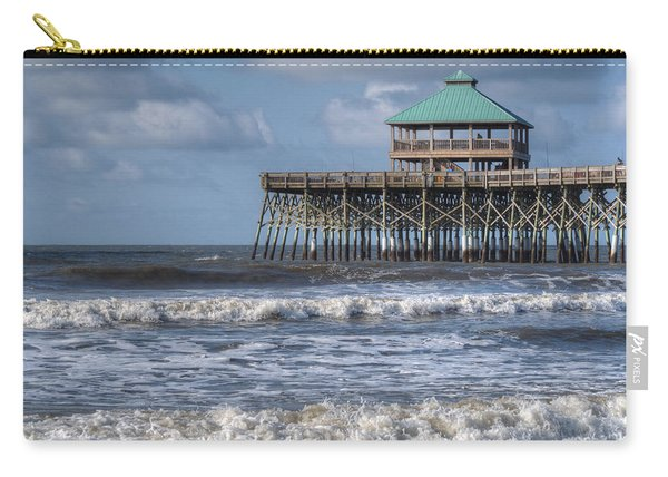 Carry-all Pouch featuring the photograph Folly Beach Pier by Michael Colgate