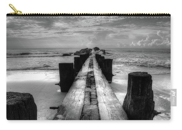 Folly Beach Pilings Charleston South Carolina In Black And White  Carry-all Pouch
