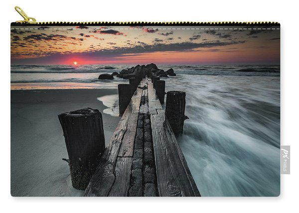 Carry-all Pouch featuring the photograph Folly Beach Tale Of Two Sides by Donnie Whitaker