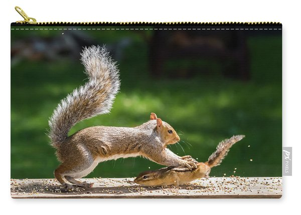 Food Fight Squirrel And Chipmunk Carry-all Pouch